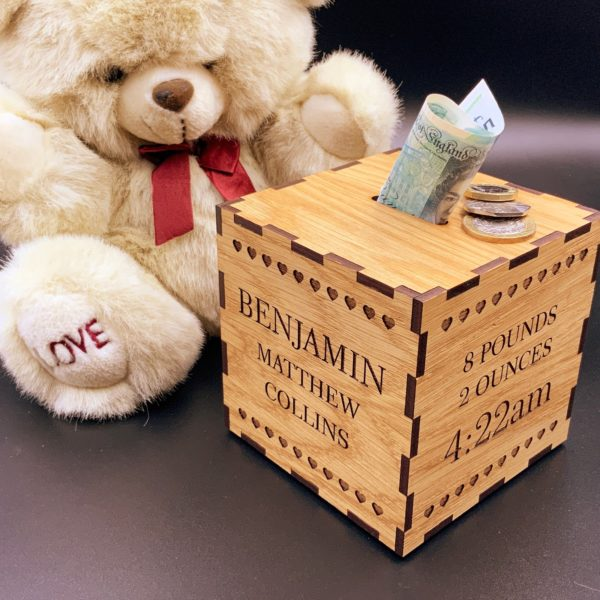 a gorgeous new baby gift - personalised oak money box gift