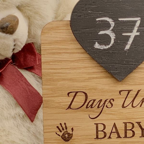 a fun pregnancy gift - personalised oak countdown chalkboard