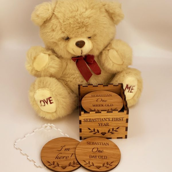 a gorgeous oak gift for new parents - new baby 'first year milestone token set'