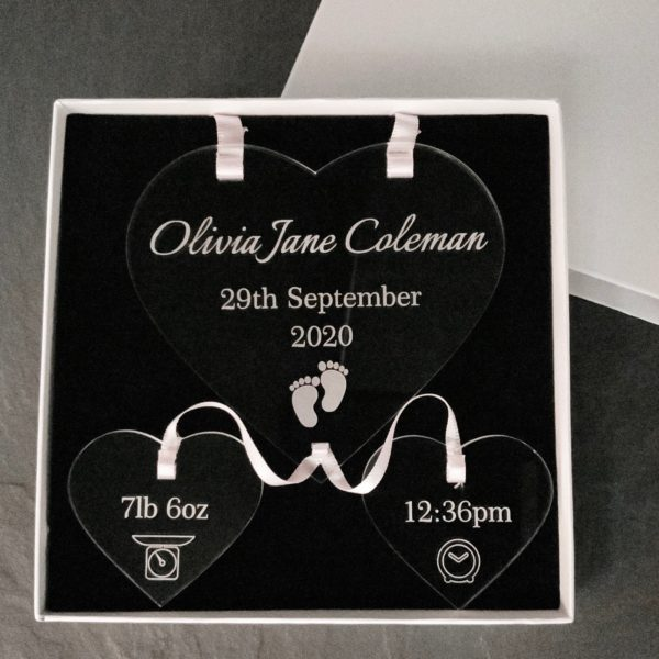 a lovely keepsake gift for new parents engraved with baby's birth details on clear acrylic - birth details announcement gift