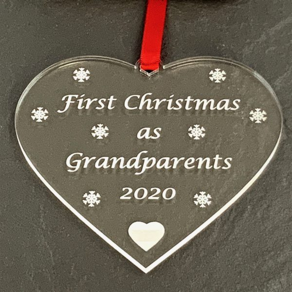 heart christmas bauble grandparent not personalised 12