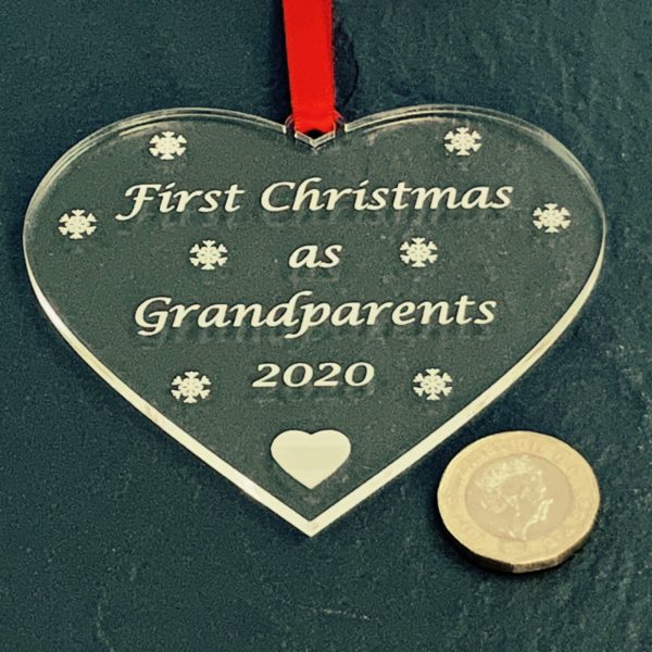 heart christmas bauble grandparent not personalised 14