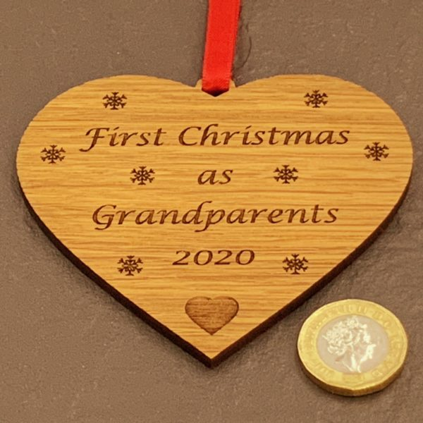 heart christmas bauble grandparent not personalised 15