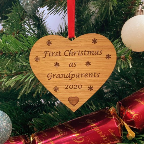 heart christmas bauble grandparent not personalised 18