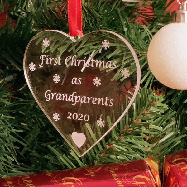 heart christmas bauble grandparent not personalised 19