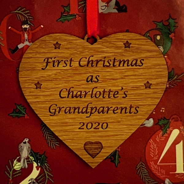 heart christmas bauble grandparent personalised 11