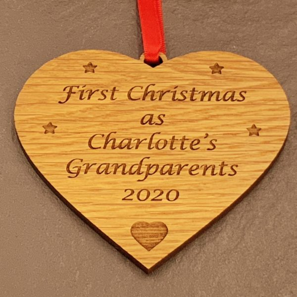 heart christmas bauble grandparent personalised 13