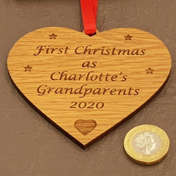 heart christmas bauble grandparent personalised 15