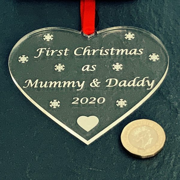 heart christmas bauble mummydaddy not personalised 14