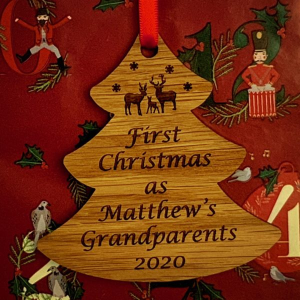 tree christmas bauble grandparent personalised 11
