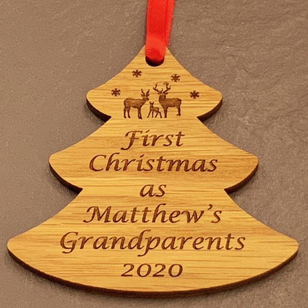 tree christmas bauble grandparent personalised 13