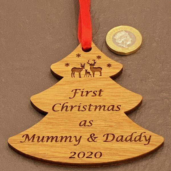 tree christmas bauble mummydaddy not personalised 15