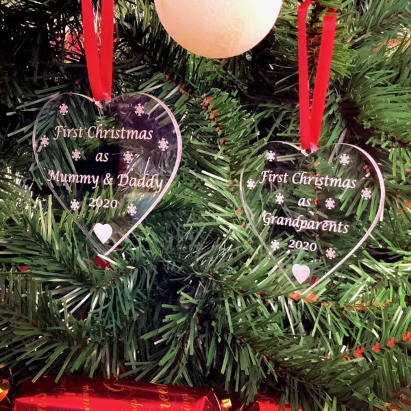 heart first christmas bauble pair 3