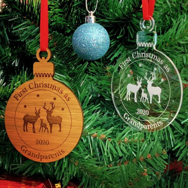 round first christmas bauble pair 2